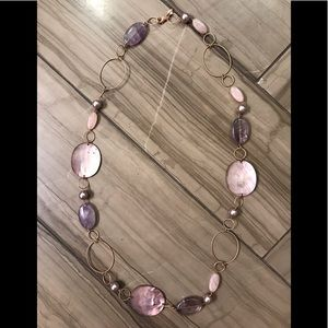 Jewelry - Mother of Pearl, Rose Gold w Purple Stones Neclace